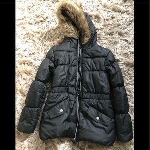 Black puffer jacket with hoodie and built in belt